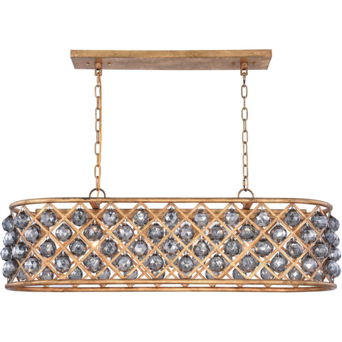 "Madison 40"" L Chandelier, Golden Iron, Silver Shade Crystal, Royal Cut"
