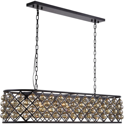 "Madison 50"" L Chandelier, Mocha Brown, Golden Teak Crystal, Royal Cut"