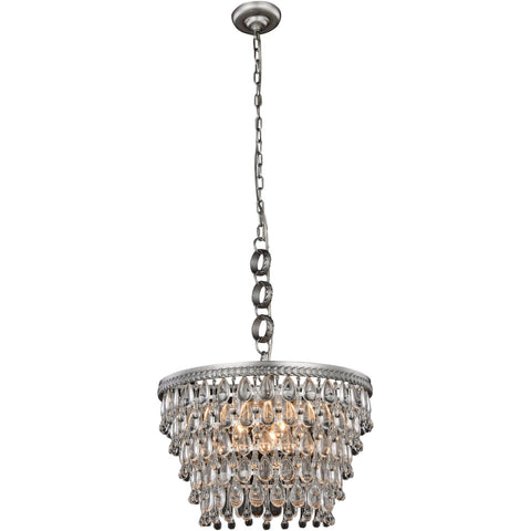 "Nordic 19"" Diam Chandelier, Antique Silver Finish, Clear Crystal, Royal Cut"