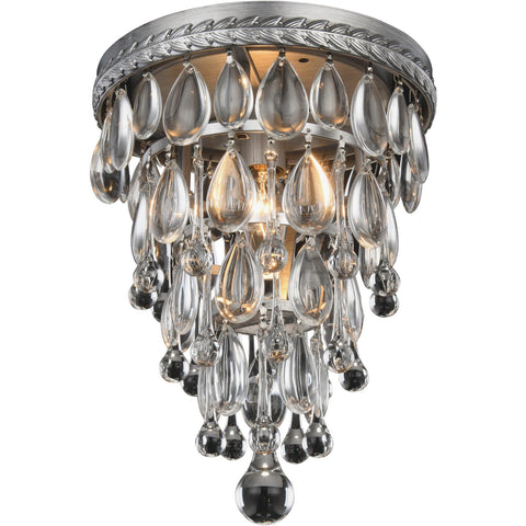 "Nordic 9"" Diam Flush-Mount Light, Antique Silver, Clear Crystal, Royal Cut"