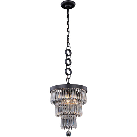 "Bastille 12"" Diam Chandelier, Mocha Brown, Clear Crystal, Royal Cut"