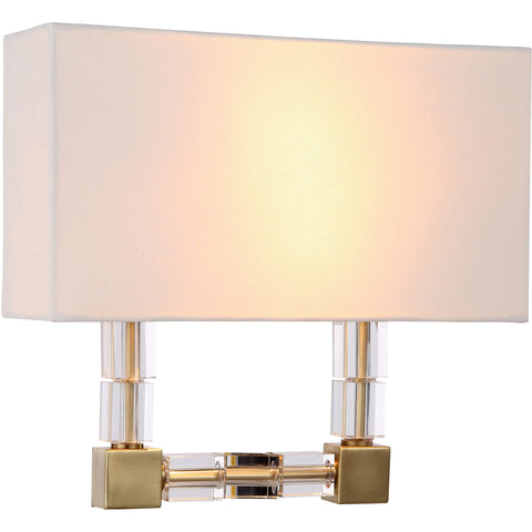 "Cristal 13"" W Wall Sconce, Burnished Brass Finish, Clear Crystal,"