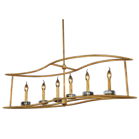"Bjorn 44"" L Chandelier, Golden Iron, Clear Crystal, Royal Cut"