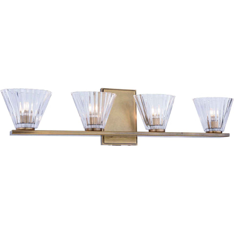 Oslo 4-Light Wall Sconce, Light Antique Brass Finish