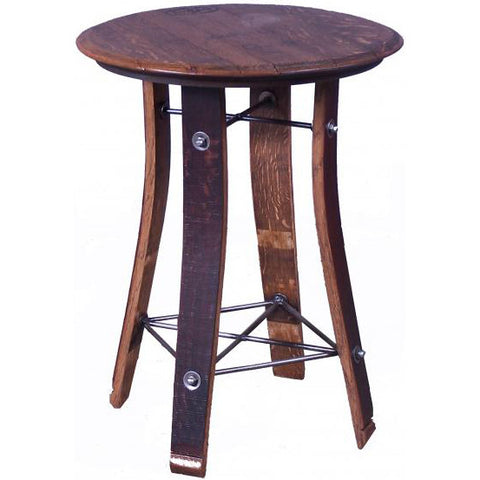 "28"" Top Side Table (Made from Wine Barrels)"