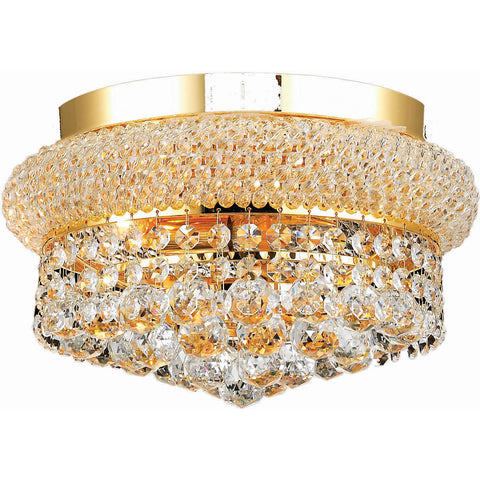 "Primo 12"" Diam Flush-Mount Light, Gold Finish, Clear Crystal, Elegant Cut"