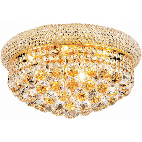 "Primo 16"" Diam Flush-Mount Light, Gold Finish, Clear Crystal, Elegant Cut"