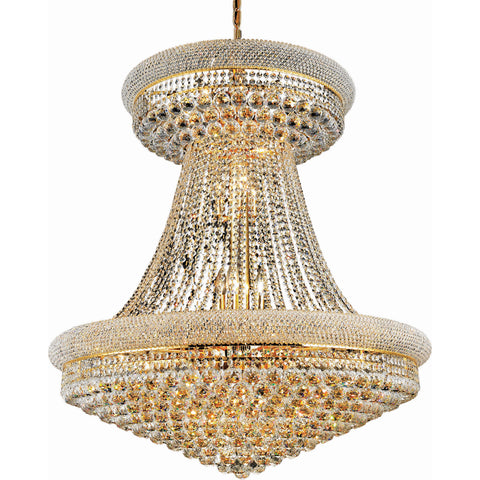 "Primo 36"" Diam Chandelier, Gold Finish, Clear Crystal, Elegant Cut"