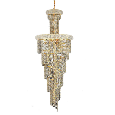 "Spiral 22"" Diam Chandelier, Gold Finish, Clear Crystal, Elegant Cut"