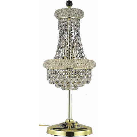 "Primo 12"" Diam Table Lamp, Gold Finish, Clear Crystal, Elegant Cut"