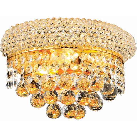 "Primo 12"" L Wall Sconce, Gold Finish, Clear Crystal, Elegant Cut"