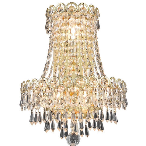 Century 12 L Wall Sconce, Gold Finish, Clear Crystal, Elegant Cut