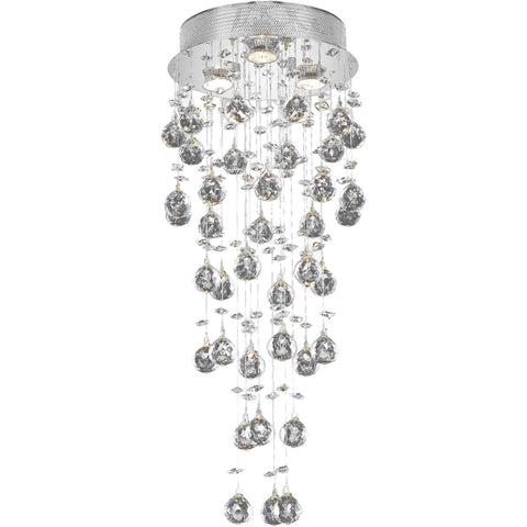 "Galaxy 12"" Diam Flush-Mount Light, Chrome, Clear Crystal, Elegant Cut"