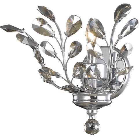"Orchid 16"" L Wall Sconce, Chrome Finish, Golden Teak Crystal, Royal Cut"