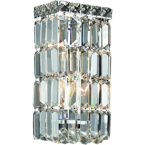 "Maxime 6"" L Wall Sconce, Chrome Finish, Clear Crystal, Elegant Cut"