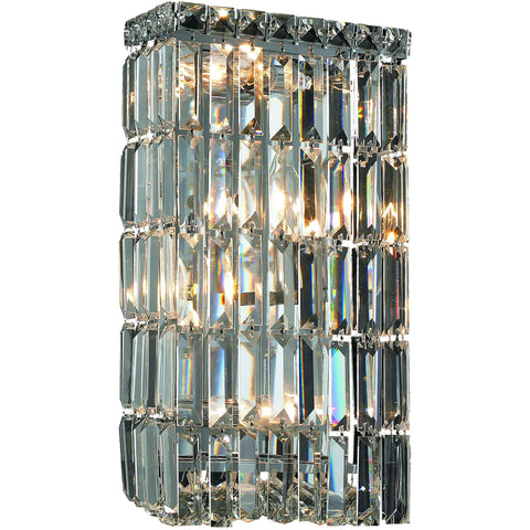 "Maxime 8""L Wall Sconce, Chrome Finish, Clear Crystal, Elegant Cut"