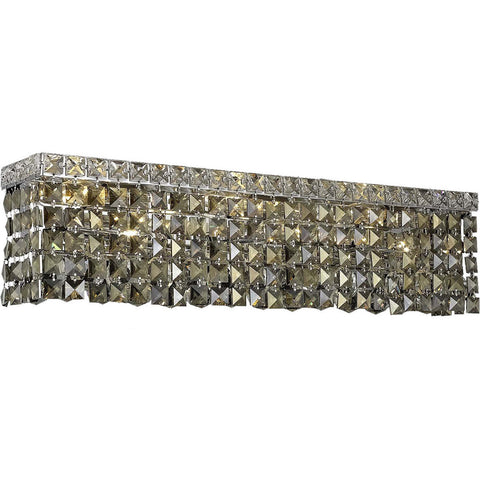 "Maxime 26"" L Wall Sconce, Chrome Finish, Golden Teak Crystal, Royal Cut"