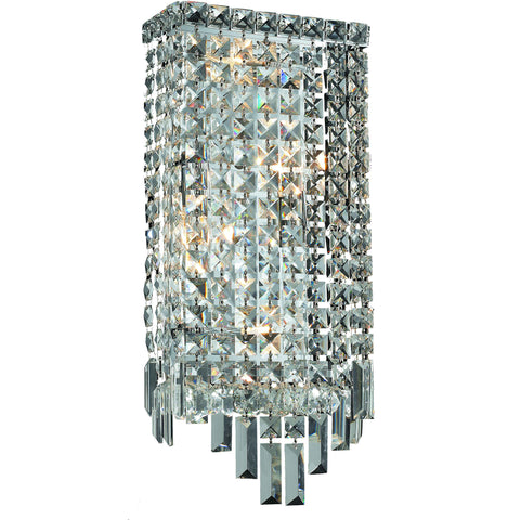 "Maxime 8"" L Wall Sconce, Chrome Finish, Clear Crystal, Elegant Cut"
