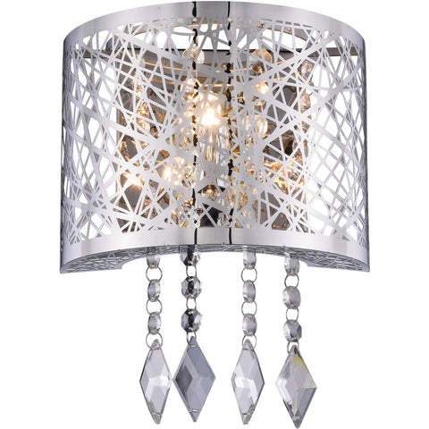 "Finley 8"" W Wall Sconce, Chrome Finish, Clear Crystal, Royal Cut"