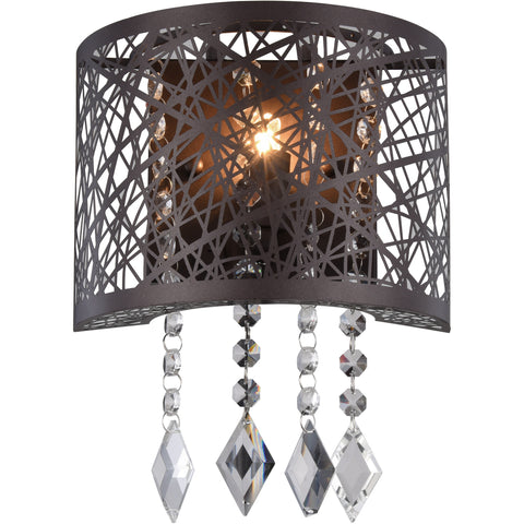 "Finley 8"" W Wall Sconce, Matte Dark Brown Finish, Clear Crystal, Royal Cut"