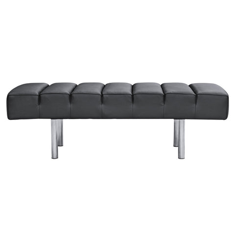 Classic Leather Bench 2 Seater, Black