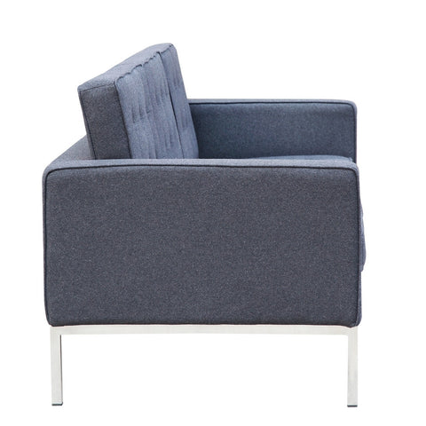 Button Sofa in Wool, Gray