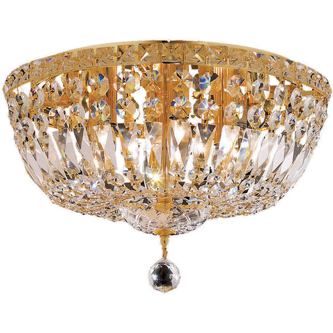 "Tranquil 16"" D Flush-Mount Light, Gold Finish, Clear Crystal, Elegant Cut"
