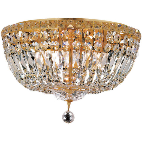 "Tranquil 18"" D Flush-Mount Light, Gold Finish, Clear Crystal, Elegant Cut"