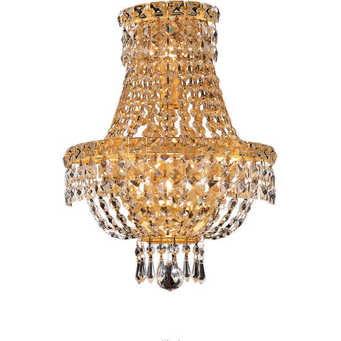 "Tranquil 12"" W Wall Sconce, Gold Finish, Clear Crystal, Elegant Cut"