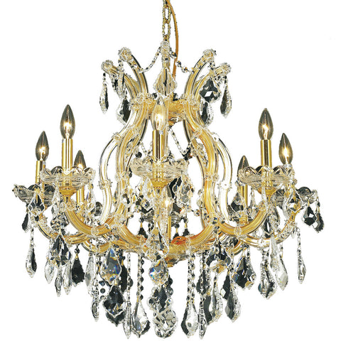"Maria Theresa 26"" D Chandelier, Gold Finish, Clear Crystal, Elegant Cut"