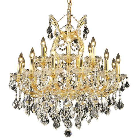 "Maria Theresa 30"" D Chandelier, Gold Finish, Clear Crystal, Elegant Cut"