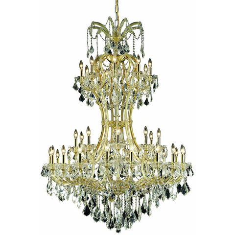 "Maria Theresa 46"" D Chandelier, Gold Finish, Clear Crystal, Elegant Cut"
