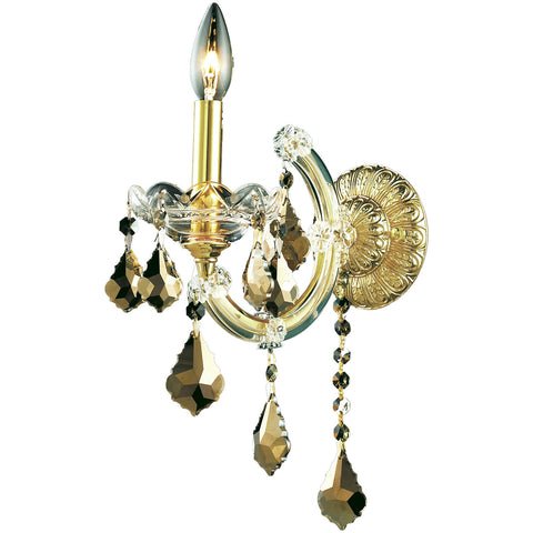"Maria Theresa 8"" W Wall Sconce, Golden Teak Crystal, Royal Cut"