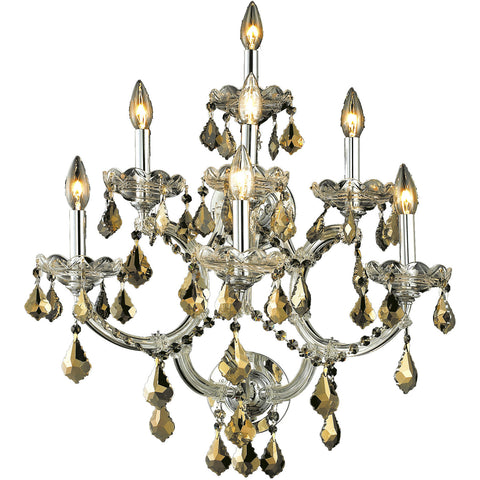 "Maria Theresa 22"" W Wall Sconce, Chrome, Golden Teak Crystal, Royal Cut"