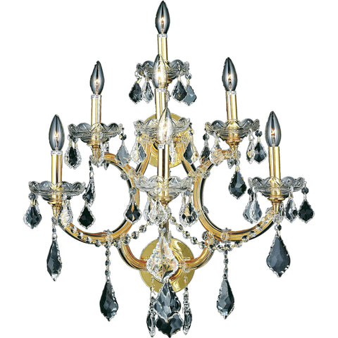 "Maria Theresa 22"" W Wall Sconce, Gold Finish, Clear Crystal, Elegant Cut"