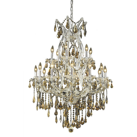 "Maria Theresa 32"" D Chandelier, Chrome, Golden Teak Crystal, Royal Cut"