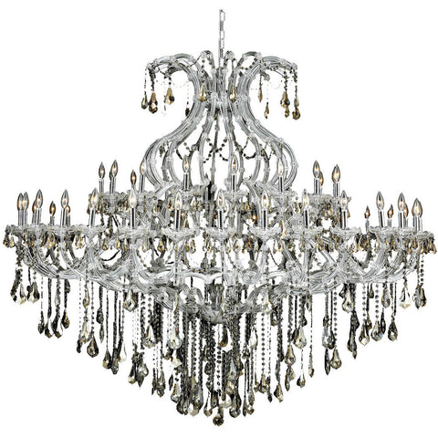 "Maria Theresa 72"" D Chandelier, Chrome, Golden Teak Crystal, Royal Cut"