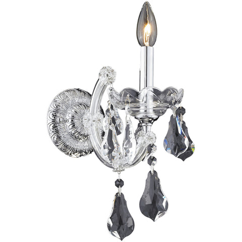 "Maria Theresa 8"" W Wall Sconce, Chrome Finish, Clear Crystal, Royal Cut"