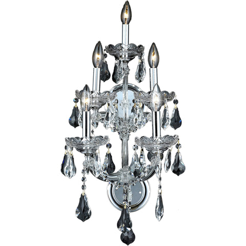 "Maria Theresa 12"" W Wall Sconce, Chrome, Clear Crystal, Royal Cut"