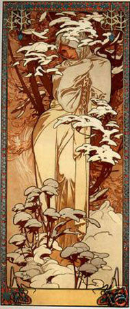 1897 Winter Alphonse Mucha Art Deco Poster