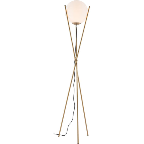 Antwerp Floor Lamp, White & Brushed Brass