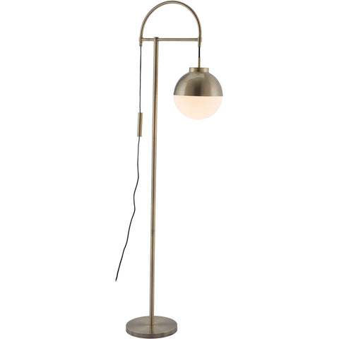 Waterloo Floor Lamp, White & Brushed Brass