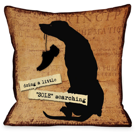 """A Little Sole Searching"" Indoor Throw Pillow by Kate Ward Thacker, 16""x16"""