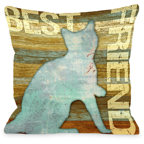 """Best Friend Cat"" Indoor Throw Pillow by Kate Ward Thacker, 16""x16"""
