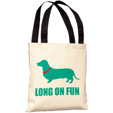 """Dachshund Long On Fun"" 18""x18"" Tote Bag by OneBellaCasa"