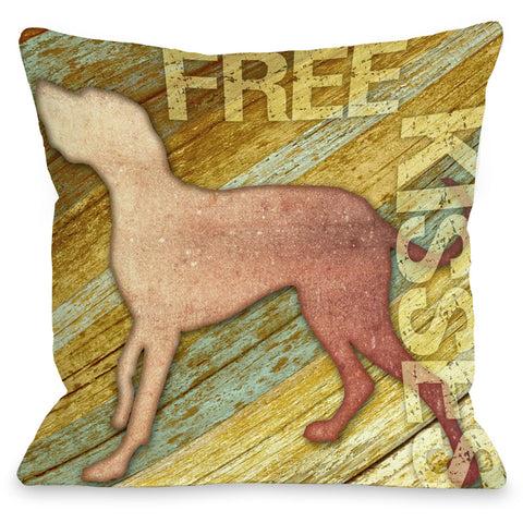 """Free Kisses Dog"" Indoor Throw Pillow by Kate Ward Thacker, 16""x16"""