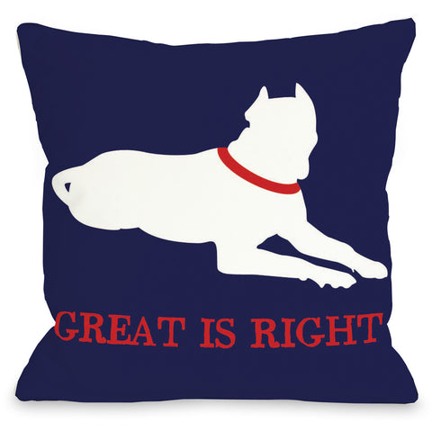 """Great Is Right"" Indoor Throw Pillow by OneBellaCasa, 16""x16"""