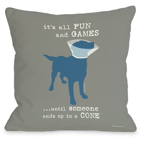 """All Fun And Games..."" Indoor Throw Pillow by Dog is Good, Green, 16""x16"""