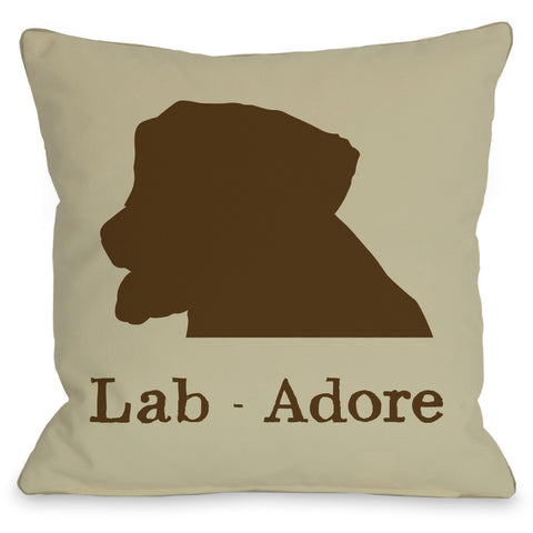 """Lab - Adore"" Indoor Throw Pillow by OneBellaCasa, Cream/Brown, 16""x16"""