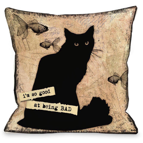 """I'm So Good At Being Bad"" Indoor Throw Pillow by Kate Ward Thacker, 16""x16"""